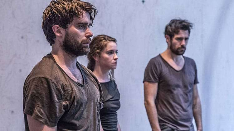 Christian Cooke, Judith Roddy & Matt Ryan in rehearsal for Knives in Hens. Donmar Warehouse.