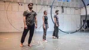 Christian Cooke, Judith Roddy & Matt Ryan in rehearsal for Knives in Hens. Donmar Warehouse.