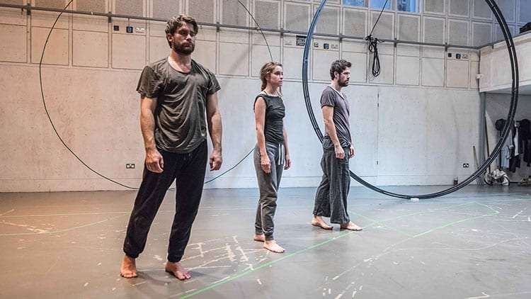 Christian Cooke, Judith Roddy & Matt Ryan in rehearsal for Knives in Hens. Donmar Warehouse.  Photo by Marc Brenner | In rehearsal: Knives In Hens at Donmar Warehouse