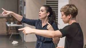 Director Yaël Farber & choreographer Imogen Knight in rehearsal for Knives in Hens. Donmar Warehouse.