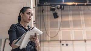 Director Yaël Farber in rehearsal for Knives in Hens. Donmar Warehouse.