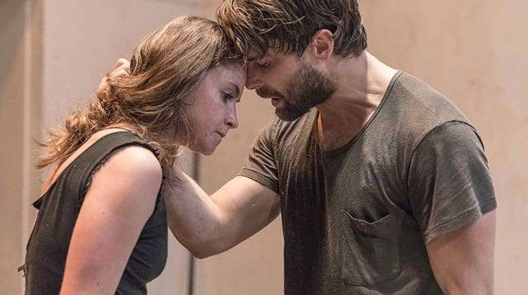 Judith Roddy & Christian Cooke in rehearsal for Knives in Hens. Donmar Warehouse.