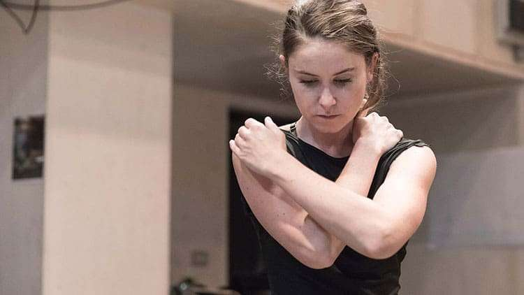 Judith Roddy in rehearsal for Knives in Hens. Donmar Warehouse.