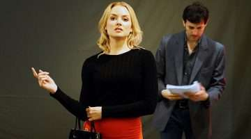 Olivia Fines, Jonathan Watton in North by North West rehearsals at Theatre Royal Bath.