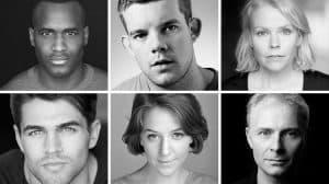 Kadiff Kirwan, Russell Tovey, Sara Crowe, Jack Derges, Gemma Whelan & Mark Bonnar in Queers, The Old Vic Theatre