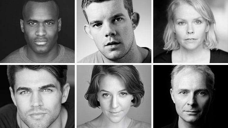 Kadiff Kirwan, Russell Tovey, Sara Crowe, Jack Derges, Gemma Whelan & Mark Bonnar in Queers, The Old Vic Theatre
