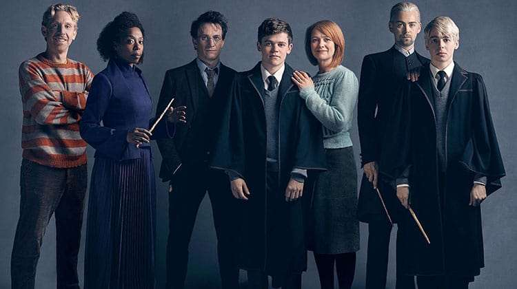 Paul Thornley (Ron Weasley), Noma Dumezweni (Hermione Granger), Jamie Parker (Harry Potter), Sam Clemmett (Albus Potter), Poppy Miller (Ginny Potter), Alex Price (Draco Malfoy) and Anthony Boyle (Scorpius Malfoy) © Charlie Gray | Jamie Parker & Noma Dumezweni confirmed for Harry Potter on Broadway