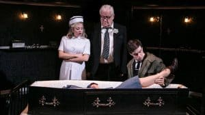 Sinead Matthews, Ian Redford and Sam Frenchum in Loot at the Park Theatre, London.