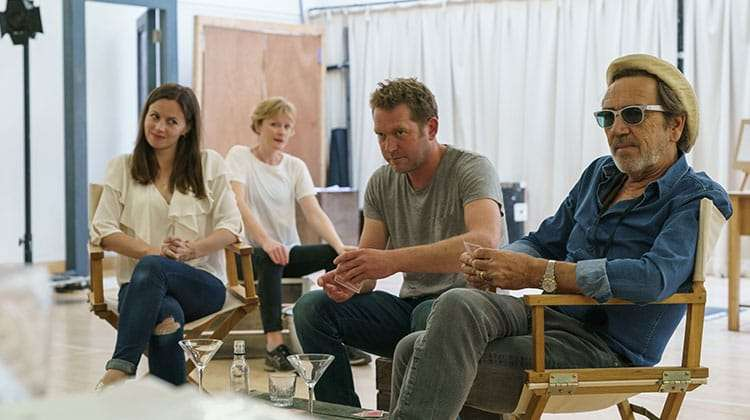 Rebbeca Night, Claire Skinner, Barnaby Kay and Robert Lindsay in rehearsals for Prism at Hampstead Theatre