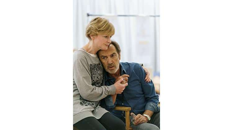 Claire Skinner and Robert Lindsay in rehearsals for Prism at Hampstead Theatre