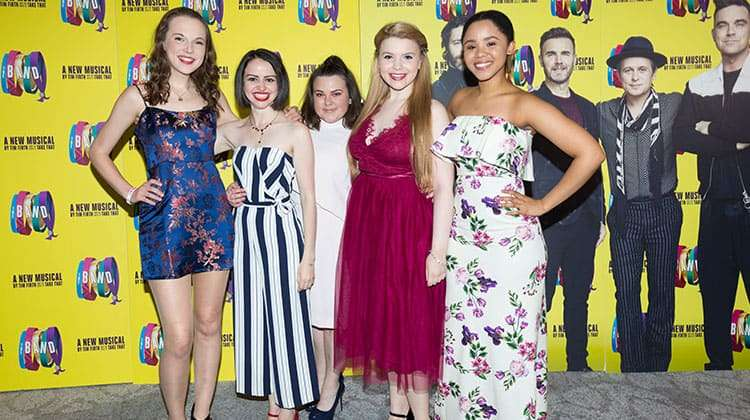 Sarah Kate Howarth, Lauren Jacobs, Faye Christall, Katy Clayton and Rachelle Diedericks at the press night for The Band, credit Phil Treagus | Photo flash: opening night at The Band