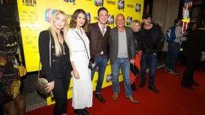 Gary Lucy (centre) and the cast of Hollyoaks at the press night for The Band, credit Phil Treagus