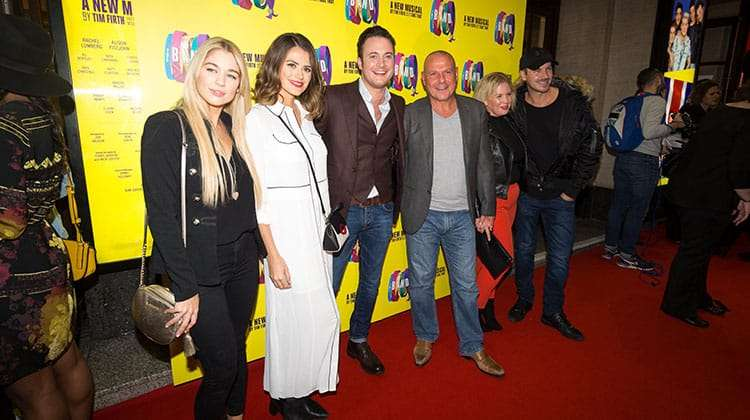 Gary Lucy (centre) and the cast of Hollyoaks at the press night for The Band, credit Phil Treagus | Photo flash: opening night at The Band