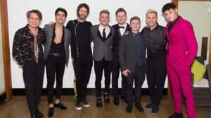 Take That with Five To Five at the press night for The Band, credit Phil Treagus