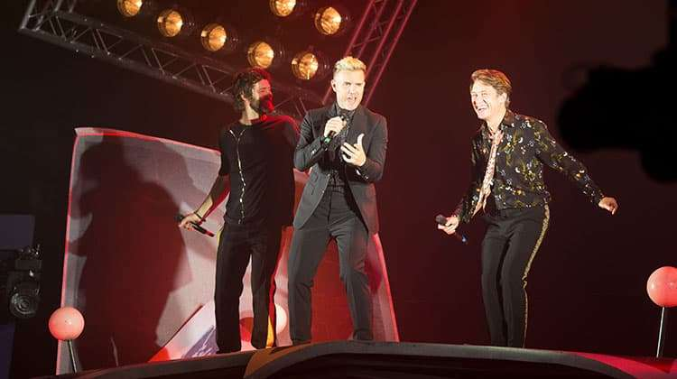 Take That on stage at the press night for The Band, credit Phil Treagus  | Photo flash: opening night at The Band