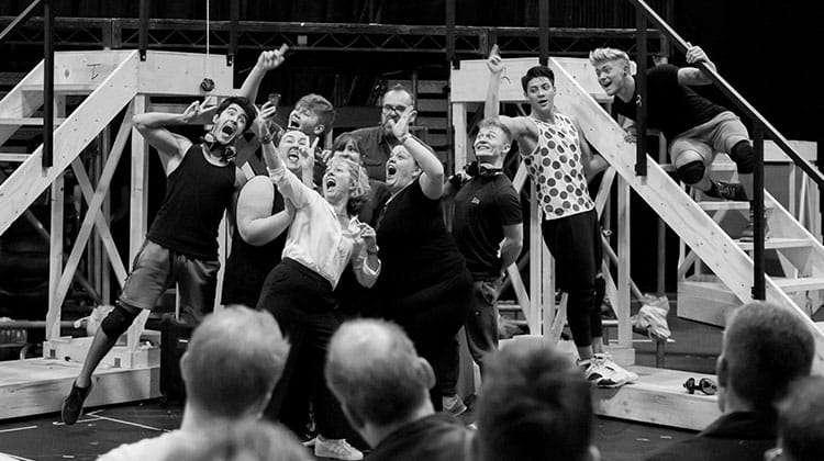 The cast in rehearsals for The Band, credit Matt Crockett