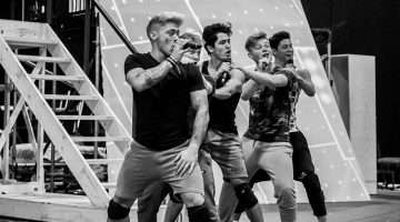 LtoR AJ Bentley, Curtis T Johns, Yazdan Qafouri, Nick Carsberg & Sario Solomon in rehearsals for The Band, credit Matt Crockett