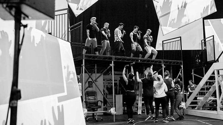 Five To Five with the cast in rehearsals for The Band, credit Matt Crockett