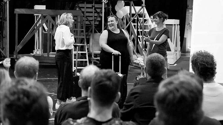 Emily Joyce as Heather, Alison Fitzjohn as Claire & Jayne McKenna as Zoe in rehearsals for The Band, credit Matt Crockett
