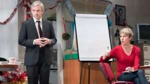 Martin Freeman and Tamsin Greig in Labour of Love at London's Noel Coward Theatre. Photo: Johan Persson