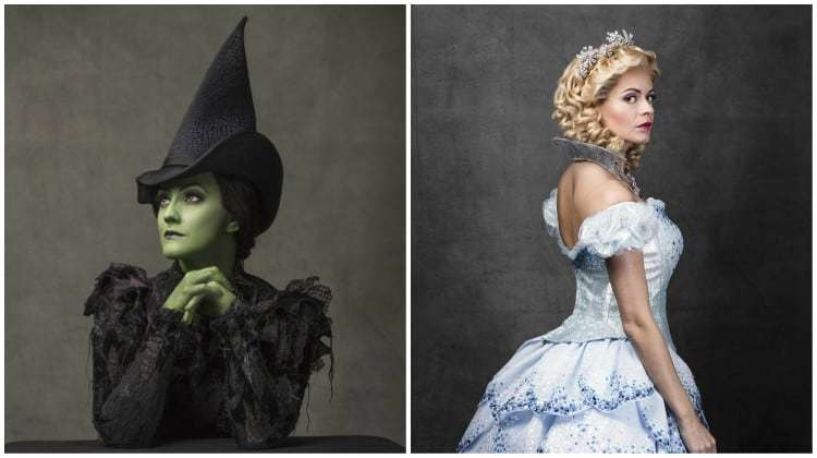 Alice Fearn (Elphaba) & Sophie Evans (Glinda). Wicked, Apollo Theatre.
