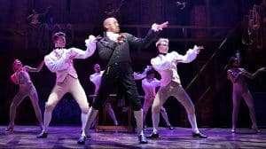 centre Giles Terera (Aaron Burr) with West End Cast of Hamilton - Photo credit Matthew Murphy