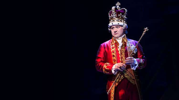 Michael Jibson (King George) - Photo credit Matthew Murphy | Hamilton at the Victoria Palace Theatre