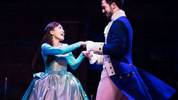 l-r Rachelle Ann Go (Eliza Hamilton) and Jamael Westman (Alexander Hamilton) - Photo credit Matthew Murphy | Hamilton at the Victoria Palace Theatre