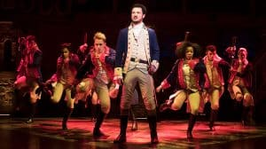 centre Jamael Westman (Alexander Hamilton) with West End cast of Hamilton - Photo credit Matthew Murphy