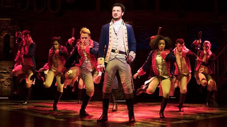 centre Jamael Westman (Alexander Hamilton) with West End cast of Hamilton - Photo credit Matthew Murphy | First Look: Hamilton in London