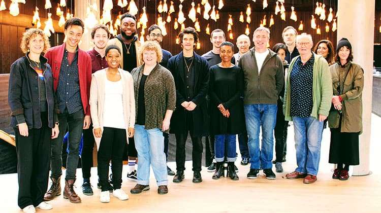 Cast in rehearsal for Julius Caesar at Bridge Theatre