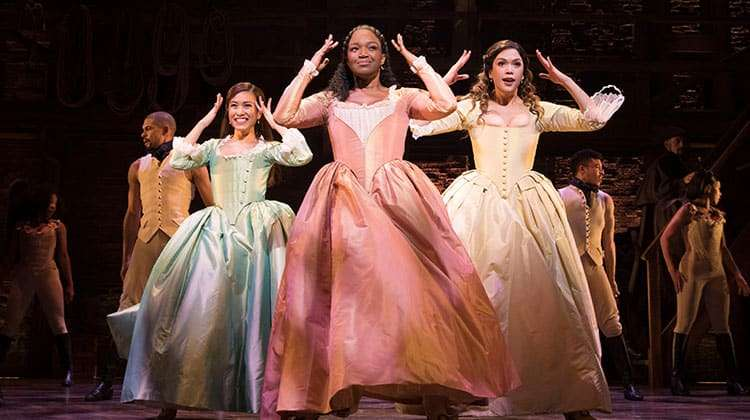 l-r Rachelle Ann Go (Eliza), Rachel John (Angelica) and Christine Allado (Peggy) - The Schuyler Sisters - Photo Matthew Murphy | Hamilton announces new booking period and on-sale dates
