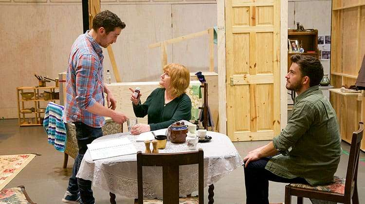 Ben Batt, Lesley Nicol & Jonathan Bailey.  Photo Johan Persson | W1A's Jonathan Bailey in rehearsal for Donmar's The York Realist