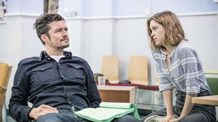 image of Orlando Bloom & Sophie Cookson in rehearsal for Killer Joe