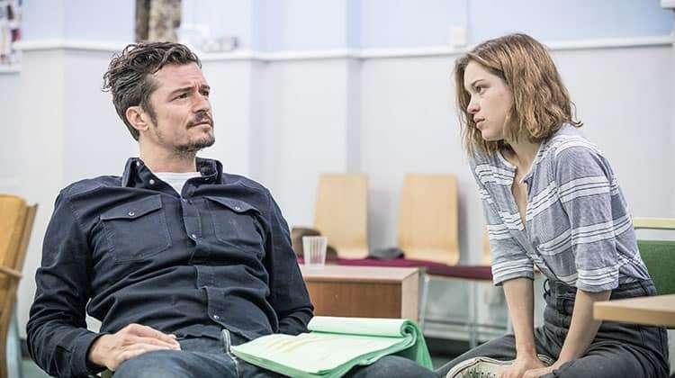image of Orlando Bloom & Sophie Cookson in rehearsal for Killer Joe
