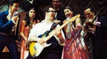image of Buddy Cast C 519 L-R Jordan Cunningham, Tom Sowinski Celia Cruwys-Finnigan, Alex Fobbester (Buddy Holly) Alex Tosh, Kerry Low, Miguel Angel