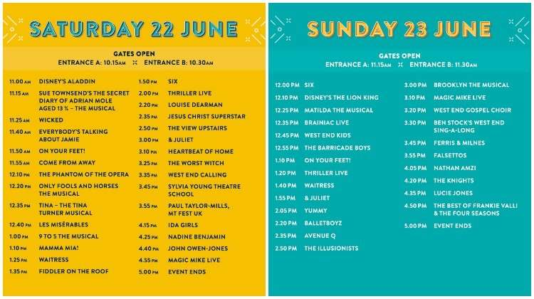West End Live performance schedule