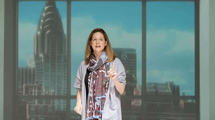Laura Linney as Lucy Barton, Bridge Theatre, London