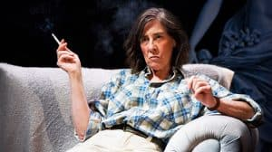Phyllis Logan as crime writer Patricia Highsmith in Switzerland. Photo. Nobby Clarke