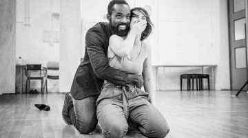 Paapa Essiedu and Kate O'Flynn in rehearsals for Pinter One