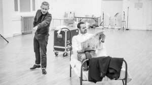 Martin Freeman and Danny Dyer in rehearsal for 'Pinter Seven'