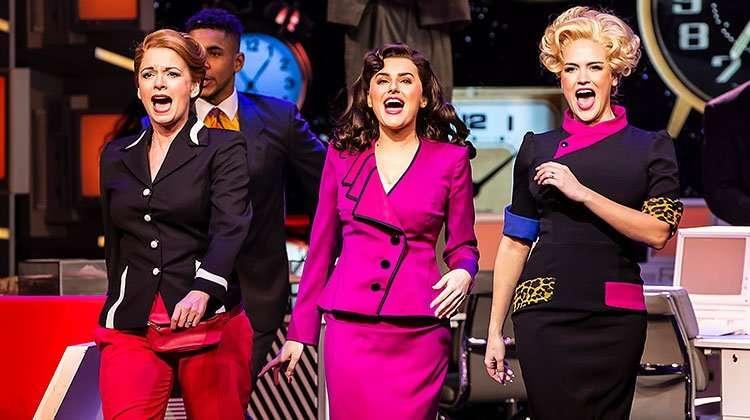 Caroline Sheen as Violet, Amber Davies as Judy & Natalie McQueen as Doralee. Photo Pamela Raith | 9 to 5 The Musical