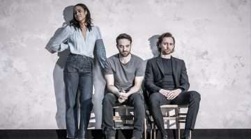 Zawe Ashton (Emma), Charlie Cox (Jerry) and Tom Hiddleston (Robert) in 'Betrayal'.