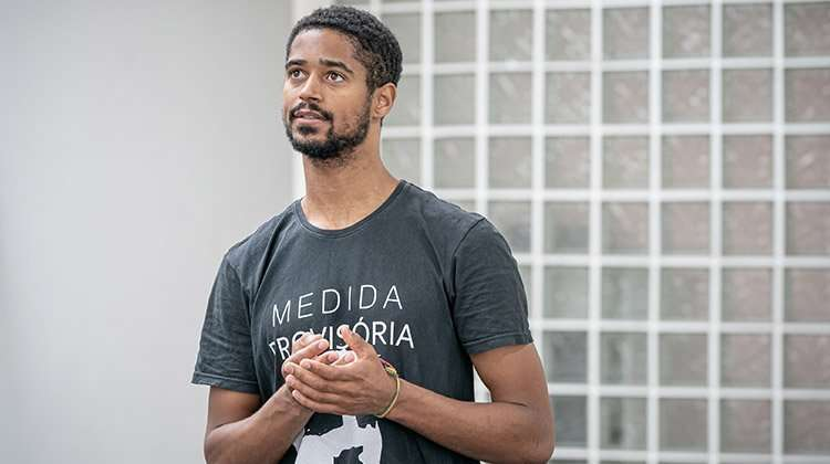 Alfred Enoch in rehearsal for Tree