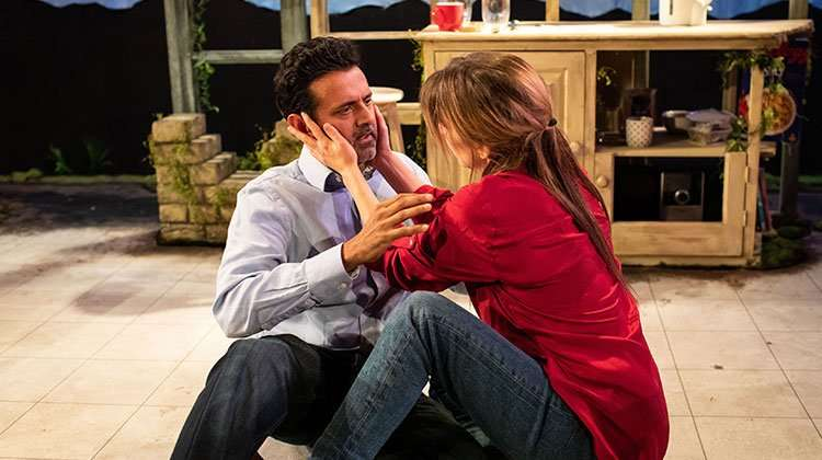 (L-R) Navin Chowdhry (Gil) & Claire Goose (Thea). Photo Helen Maybanks | 'The Girl Who Fell' review round-up