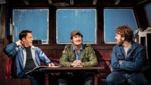 Demetri Goritsas (Roy Scheider), Ian Shaw (Robert Shaw) and Liam Murray Scott (Richard Dreyfuss) in The Shark is Broken Photo by Helen Maybanks
