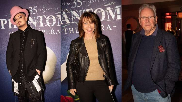 Boy George, Kay Burley and Pete Waterman snapped attending the gala performance of Phantom.